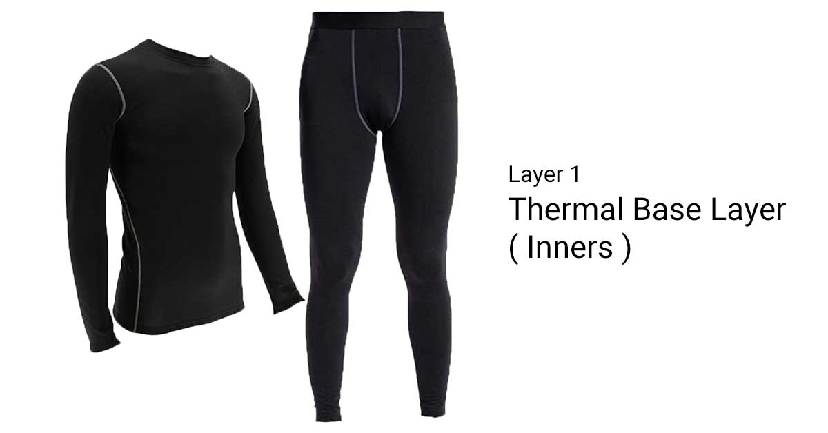 Thermal base layer or inners layering clothes