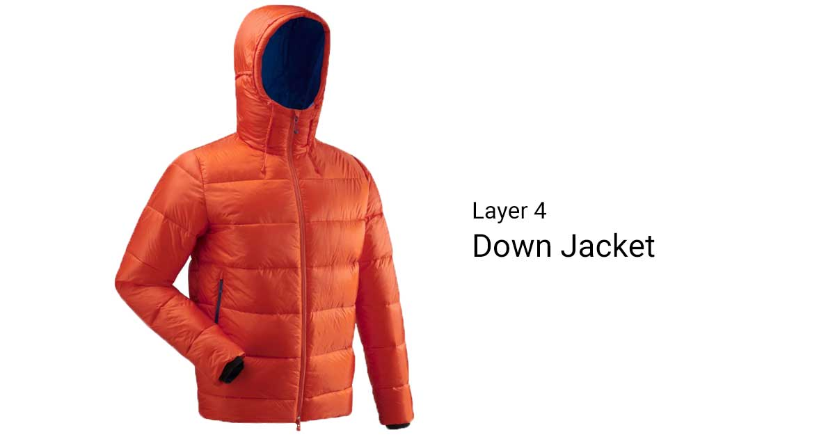 A Red Down Jacket layering clothes